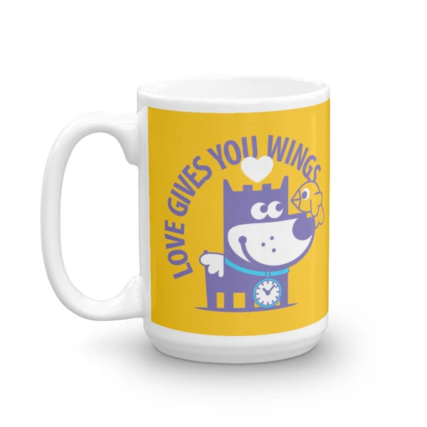 Love Gives You Wings - Good Puppy Children's Character Ceramic Mug Yellow Purple