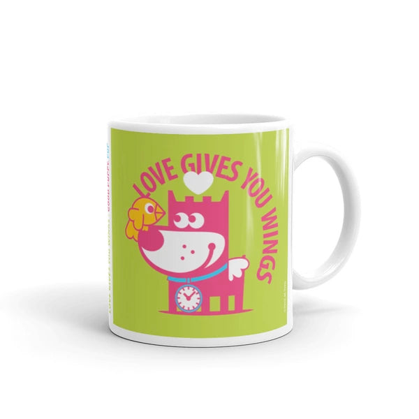 Love Gives You Wings - Good Puppy Children's Character Ceramic Mug Blue Green Hot Pink