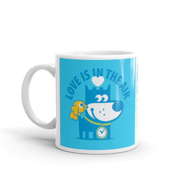 Love Gives You Wings - Good Puppy Children's Character Ceramic Mug Blue Green