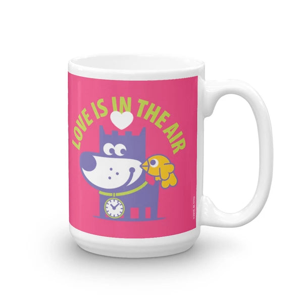 Love Is In The Air - Good Puppy Children's Character Ceramic Mug Purple Green