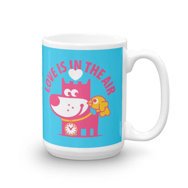 Love Is In The Air - Good Puppy Children's Character Ceramic Mug Blue Orange Hot Pink