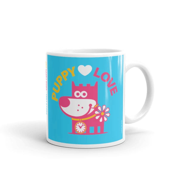 Puppy Love Good Puppy Children's Character Ceramic Mug Yellow Blue Hot Pink