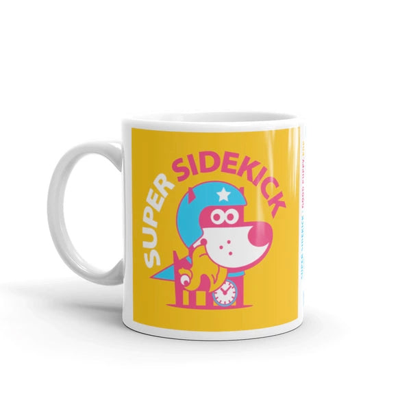 Super Sidekick Children's Character Ceramic Mug Blue Yellow Hot Pink