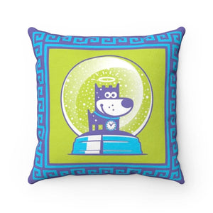 Dreamer Puppy Good Puppy Faux Suede Square Pillow Accent For Children's Bedroom Decor