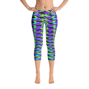 Vibrant Blue Geometric Super Soft Women's Capri Leggings