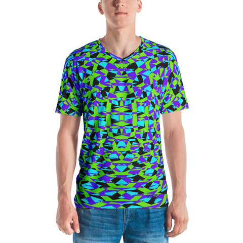 Blue Purple Vibrant Geometric Men's V-Neck T-Shirt