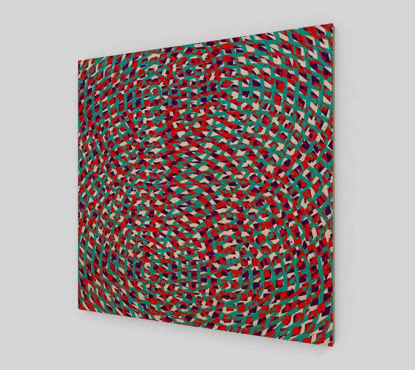 Eclectic Geometric Blue And Red Fine Art Wood Print