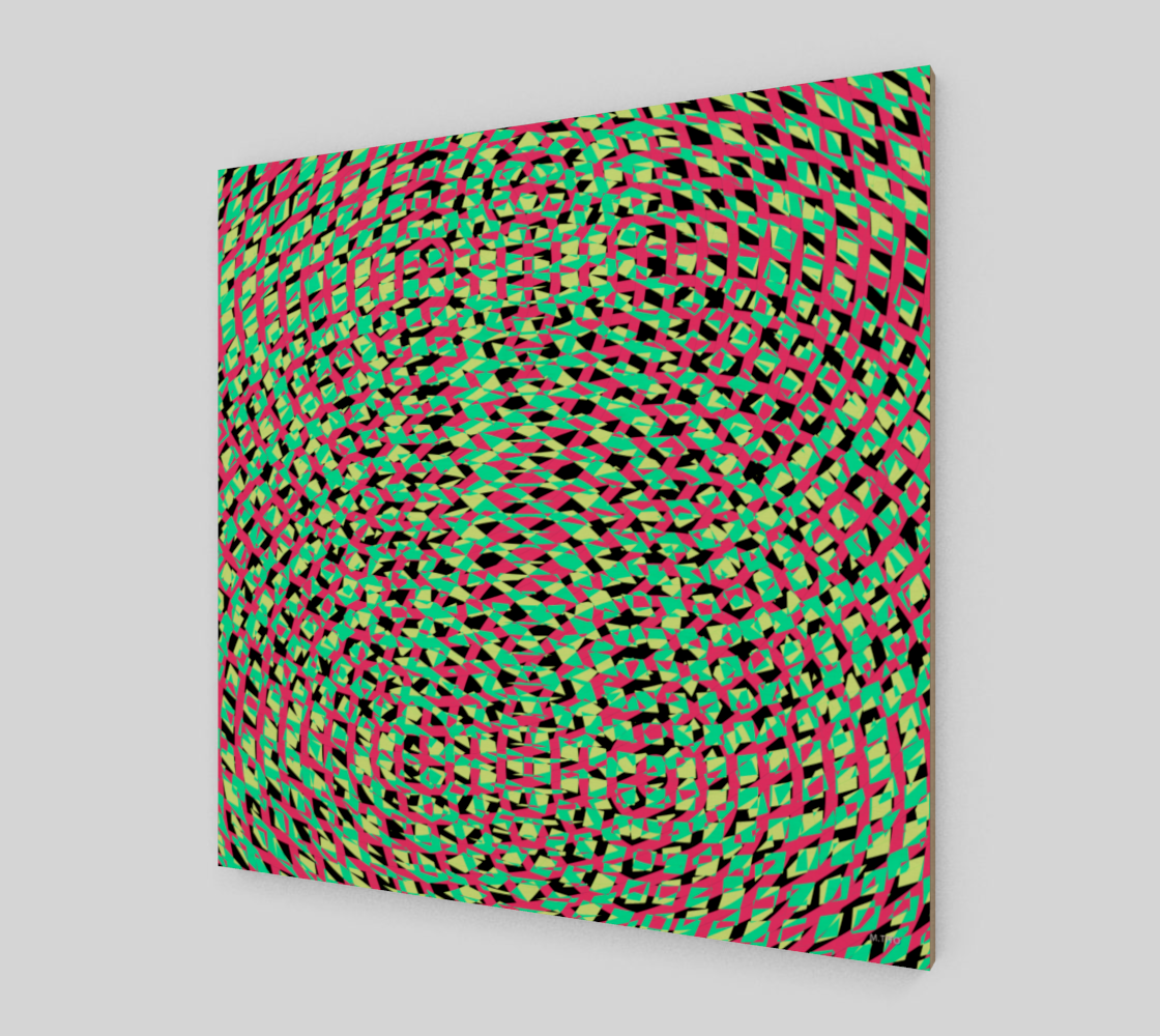 Modern Geometric Green And Red Fine Art Wood Print