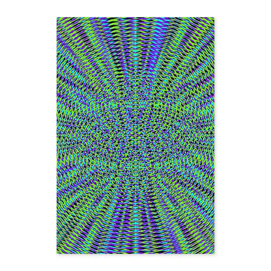 Eclectic Vibrant Blue Green Geometric Wood Print