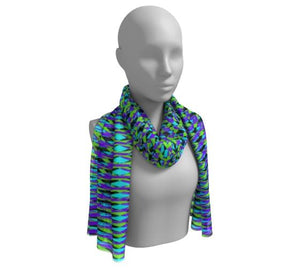 Eclectic Geometric Purple Turquoise Long Scarf