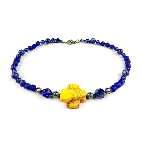 Elemental Collar . Lapis Lazuli + Pyrite + Yellow Turquoise