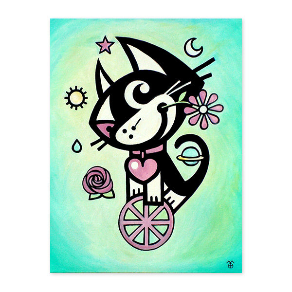 BETTY BAD KITTY . Wheel Of Life . Wood Print