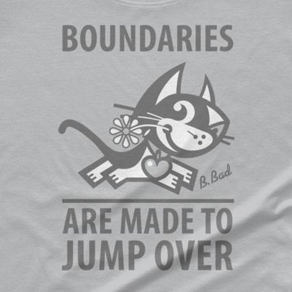 BETTY BAD KITTY . Boundaries . Gray Print . Women's T-Shirt