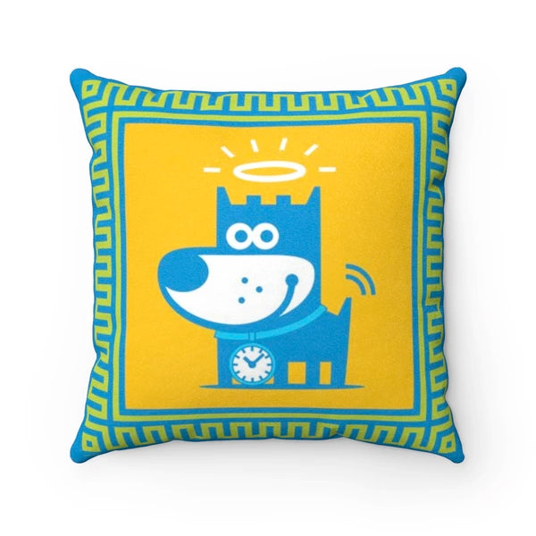 Good Puppy Faux Suede Square Pillow
