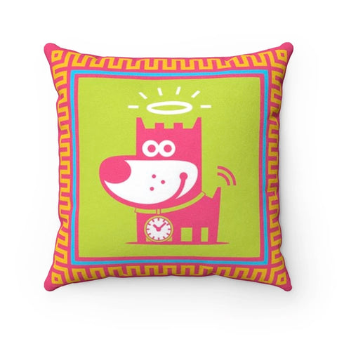 Good Puppy Faux Suede Square Pillow Accent For Children's Bedroomo