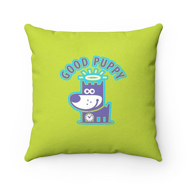 Good Puppy Plaid Green Faux Suede Square Pillow