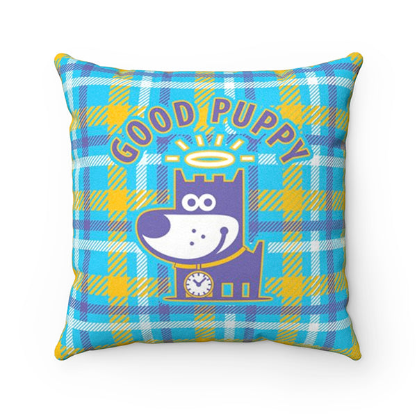 Good Puppy Plaid Orange Faux Suede Square Pillow