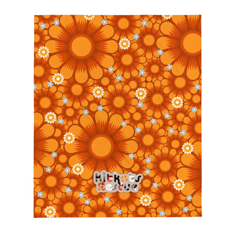 KitKats Rescue . Orange Flower Bed . Throw Blanket
