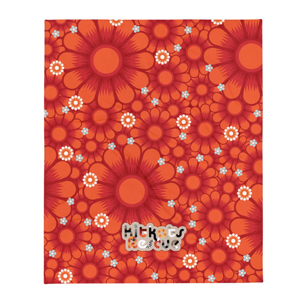 KitKats Rescue . Red Flower Bed . Throw Blanket