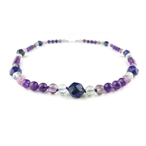 Lily Of The Valley Necklace . Lapis Lazuli + Amethyst + Fluorite