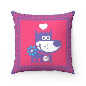 Love Puppy Good Puppy Faux Suede Square Pillow Accent For Children's Bedroom Decor