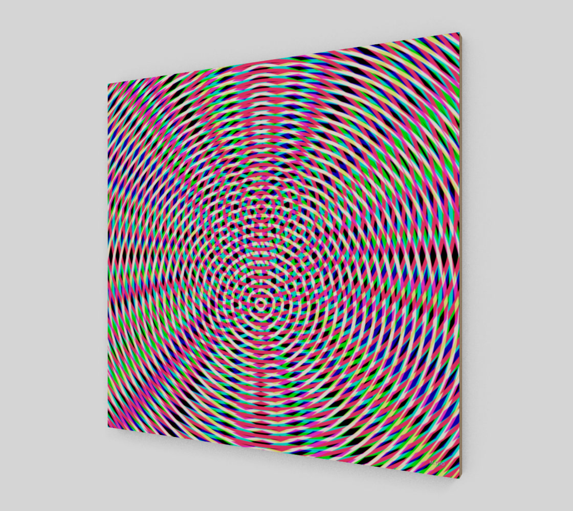 Modern Geometric Multicolored Hot Pink Fine Art Wood Print