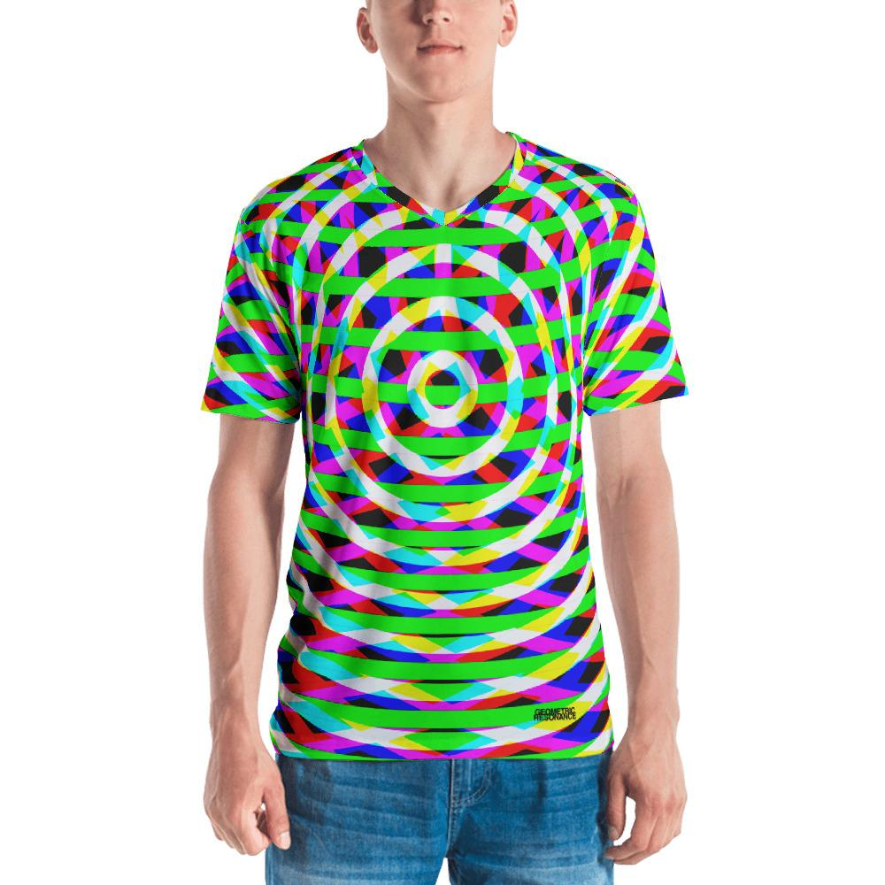 Modern Vibrant Geometry Mens V-Neck T-Shirt