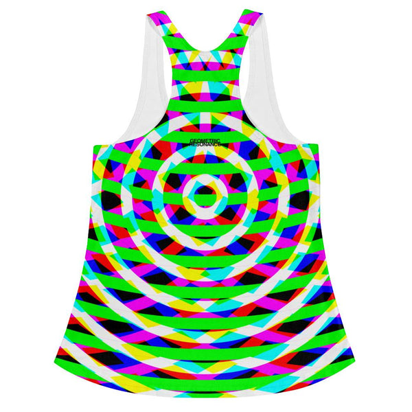 Modern Geometric Green Women's Tank Top Racerback