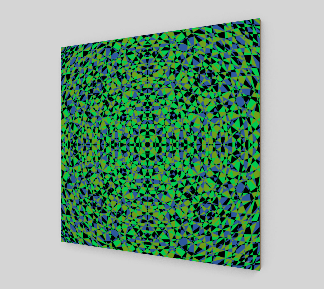Geometric Resonance Green Fine Art Wood Print
