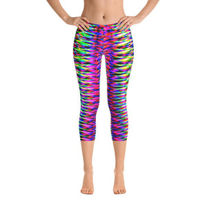 Vibrant Colorful Rainbow Geometric Women's Capri Leggings
