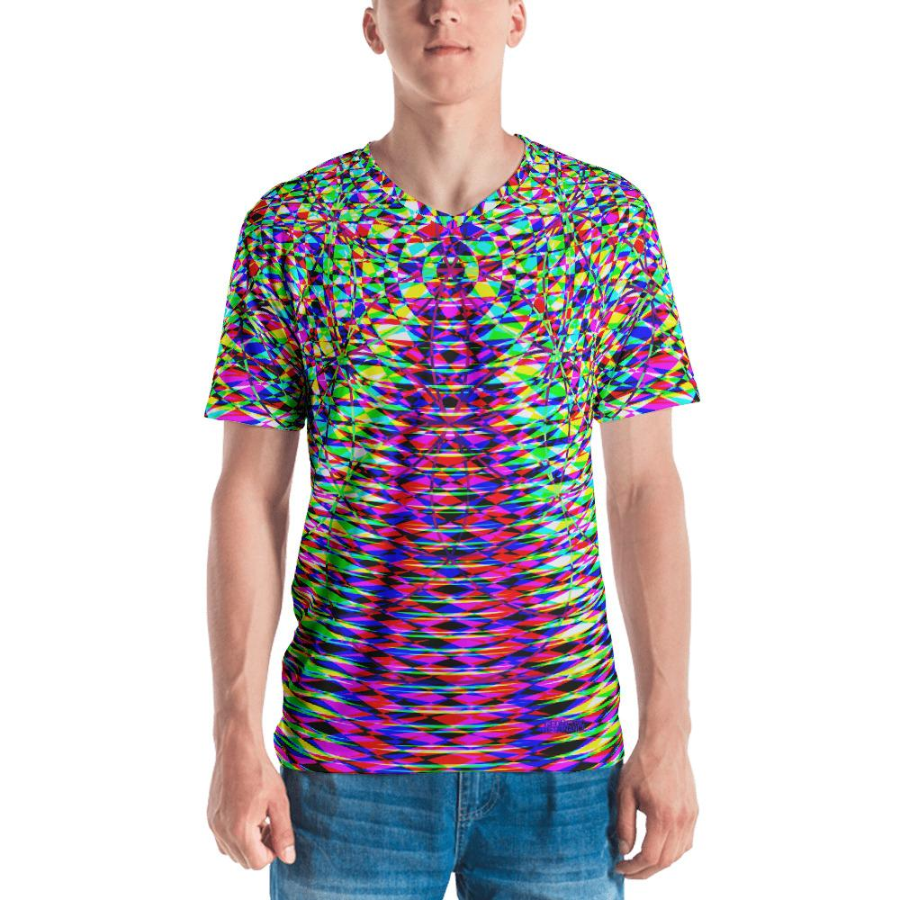 Vibrant Seed Of Life Geometric Men's V-Neck T-Shirt