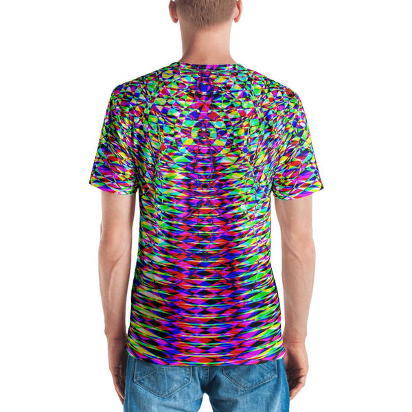 Vibrant Colorful Geometric Men's V-Neck T-Shirt