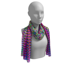 VIbrant Rainbow Geometric Long Scarf