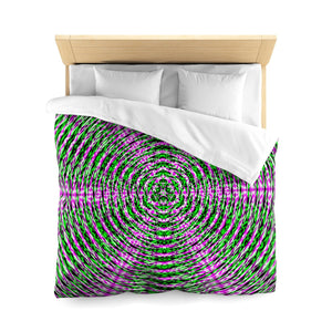 Resonant Geometric Green And Purple Super Soft Duvet Cover