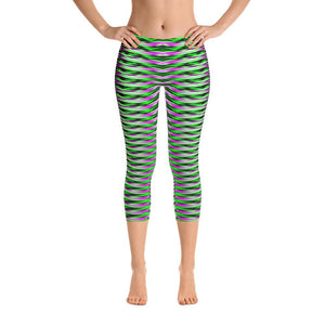 Green And Purple Geometric Super Soft Capri Leggings