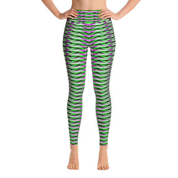 Green And Purple Geometric Women's Yoga Leggings