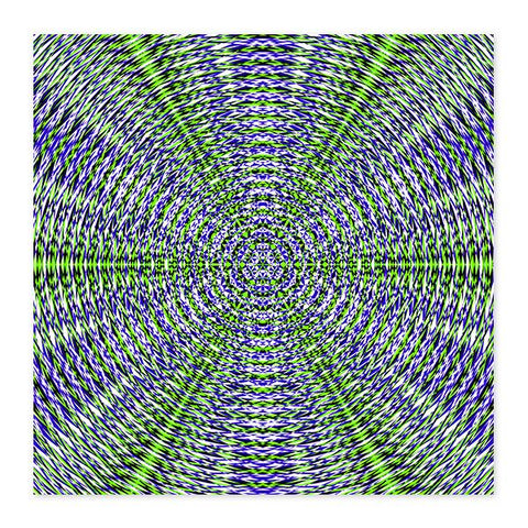 Vibrant Blue And Green Sacred Geometry Fine Art Wood Print