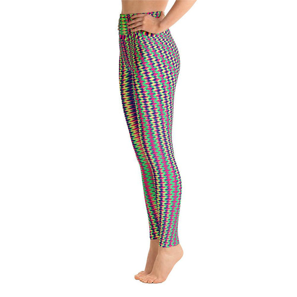 Vibrant Colorful Geometric Women's Yoga Leggings