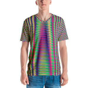 Vibrant Modern Geometric Men's V-Neck T-Shirt