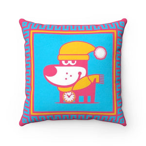Snow Puppy Good Puppy Faux Suede Square Pillow Accent For Children's Bedroom Decor