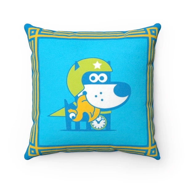Super Puppy - Good Puppy Faux Suede Square Pillow Accent For Children's Bedroomo
