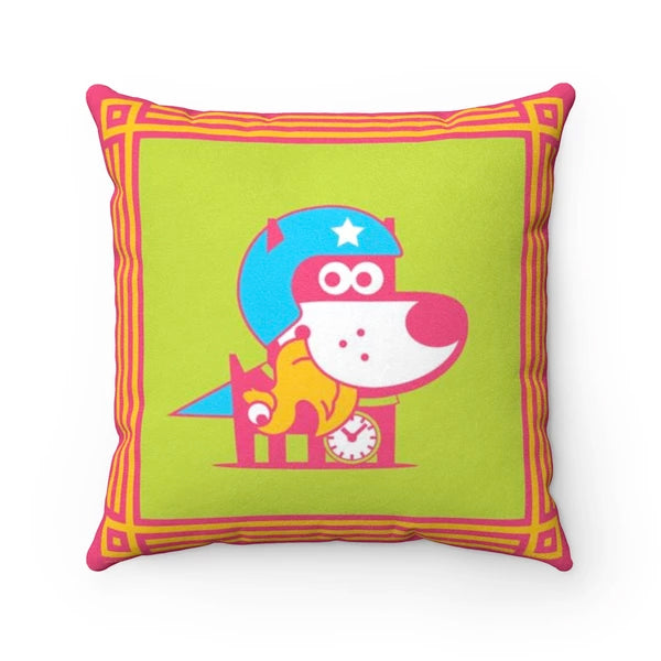Super Puppy Faux Suede Square Pillow Accent For Children's Bedroom