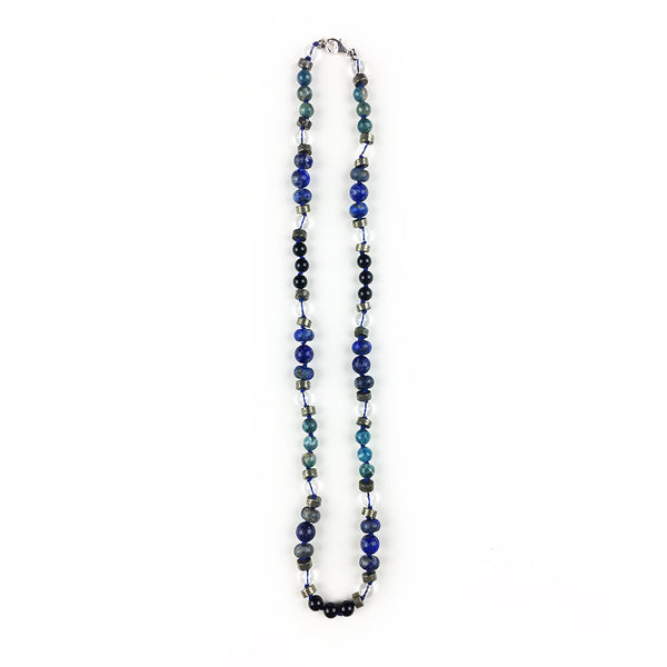 Tao Necklace . Lapis Lazuli + Pyrite + Black Onyx + Clear Quartz + Apatite + Chrysocolla