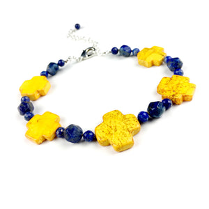 Five Elements Choker . Lapis Lazuli + Yellow Turquoise