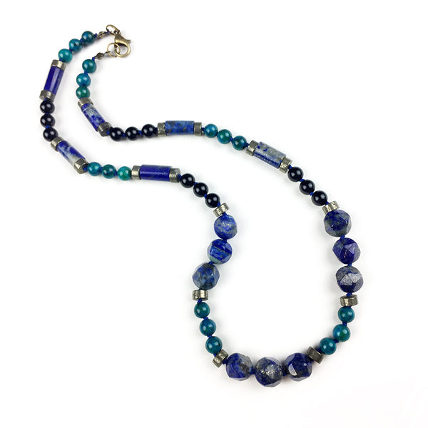 Resonance Necklace . Lapis Lazuli + Pyrite + Azurite + Black Onyx
