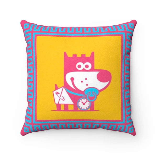 Tiny Puppy Good Puppy Faux Suede Square Pillow Accent For Children's Bedroom