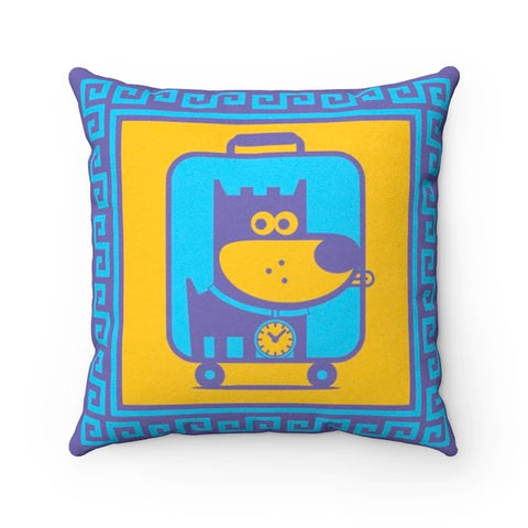 Travel Puppy Good Puppy Faux Suede Square Pillow Accent For Children's Bedroom Decor