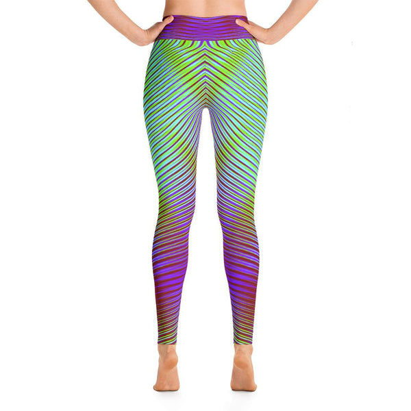Unique Purple And Green Geometric Women's Super Soft Yoga Leggings