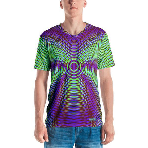 Vibrant Purple And Green Geometric Men's V-Neck T-Shirt
