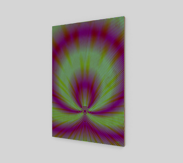 Vibrant Purple And Green Geometric Wood Print